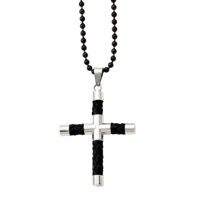 Mens Stainless Steel Black Leather & Black Ion-Plated Cross Pendant