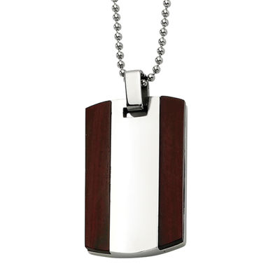 Mens Stainless Steel Wood Dog Tag Pendant