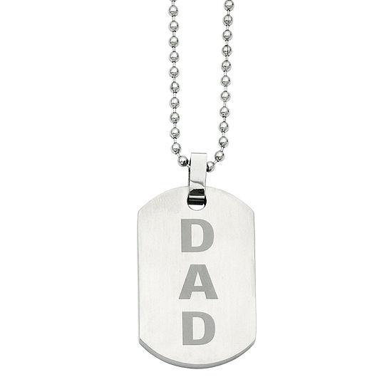 Mens Stainless Steel Enamel Dad Dog Tag Pendant