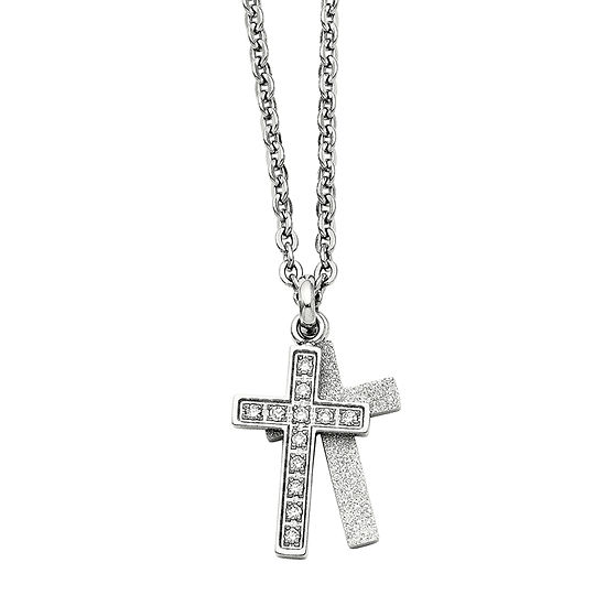 Mens Cubic Zirconia Stainless Steel Two Piece Cross Pendant