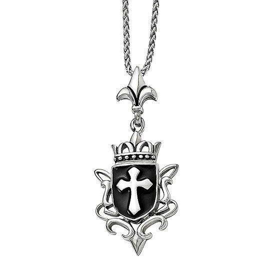 Mens Stainless Steel Antiqued & Enameled Cross Pendant