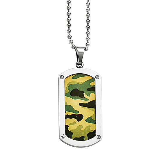 Mens Stainless Steel Camoflage Dog Tag Pendant