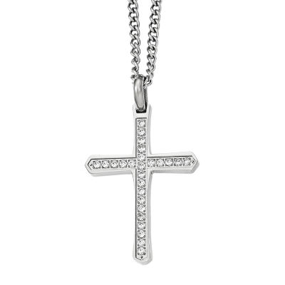 Mens Cubic Zirconia Stainless Steel Cross Pendant