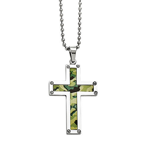 Mens Stainless Steel Camoflage Cross Pendant