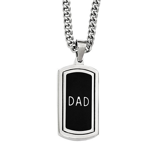 Mens Cubic Zirconia Stainless Steel Reversible Dad Pendant