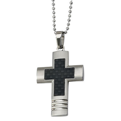 Mens Stainless Steel Black Carbon Fiber Cross Pendant