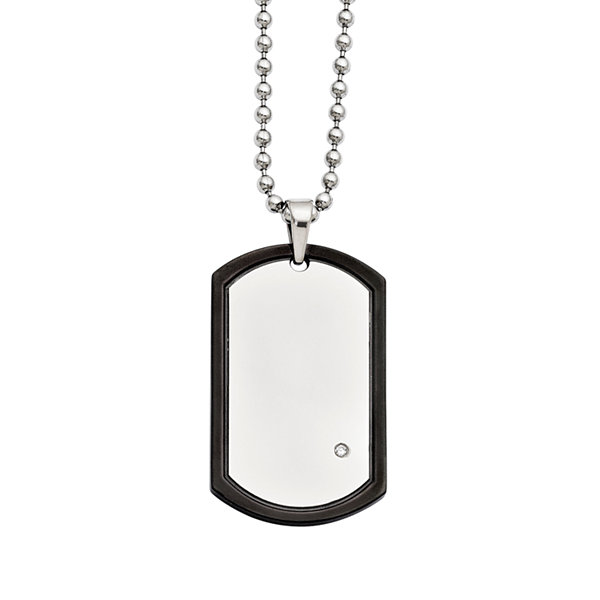 Mens Cubic Zirconia Stainless Steel Black Ion-Plated Dog Tag Pendant