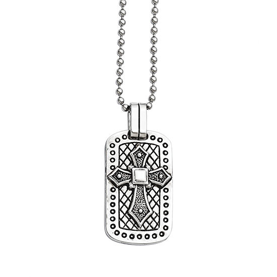 Mens Stainless Steel Antiqued Cross Dog Tag Pendant