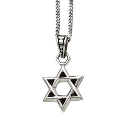 Mens Stainless Steel Antiqued Star Of David Pendant