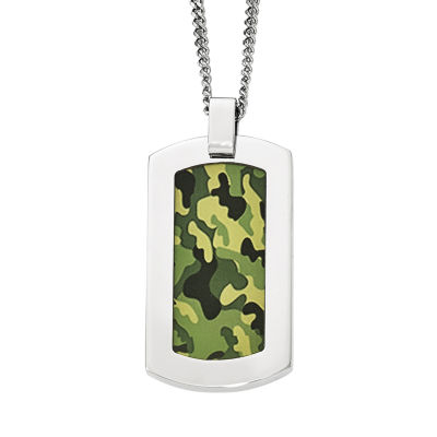 Mens Stainless Steel Green Camouflage Pendant