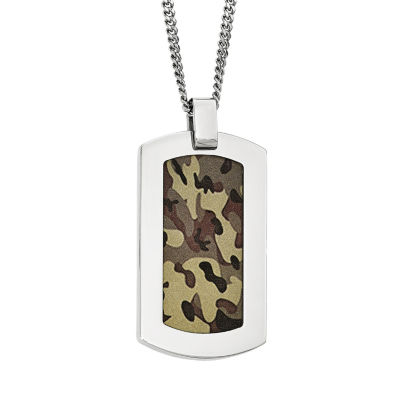 Mens Stainless Steel Brown Camouflage Pendant