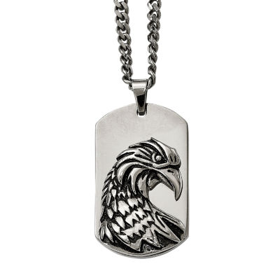 Mens Stainless Steel Antiqued Eagle Pendant