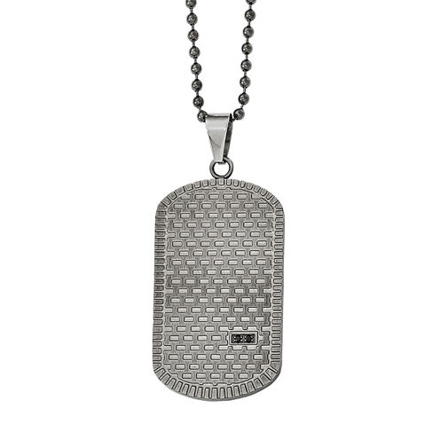 Mens Black Cubic Zirconia Stainless Steel Pendant Necklace