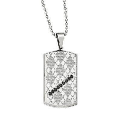 Mens Black Cubic Zirconia Stainless Steel Dog Tag Pendant