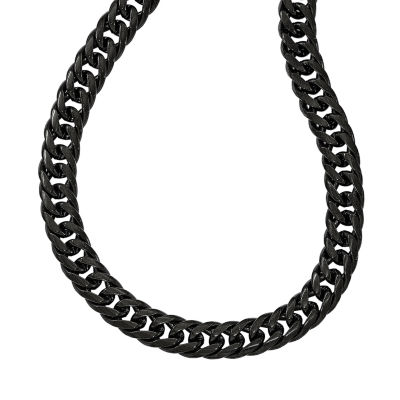 Mens Stainless Steel Black Ip-Plated Double Curb Chain Necklace