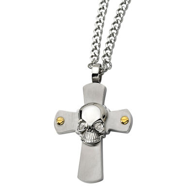 Mens Stainless Steel Skull Cross Pendant