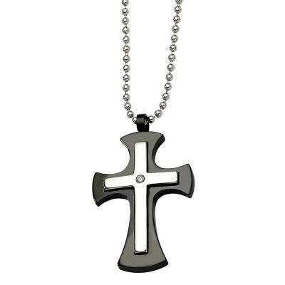 Mens Stainless Steel & Black Ip-Plated Cross Pendant
