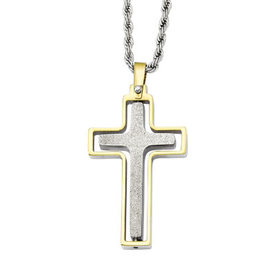 Mens Stainless Steel Yellow Ip-Plated Moveable Cross Pendant