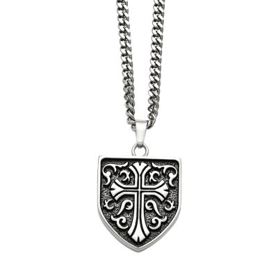 Mens Stainless Steel Antiqued Cross Shield Pendant