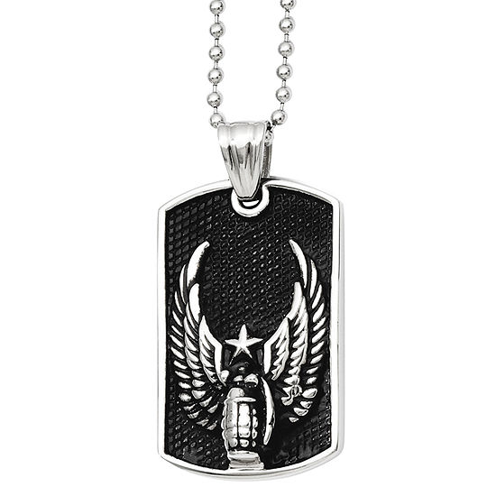 Mens Stainless Steel Antiqued Wings Dog Tag Pendant