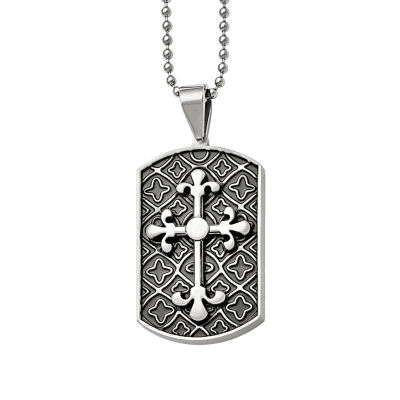 Mens Stainless Steel Cross Dog Tag Pendant