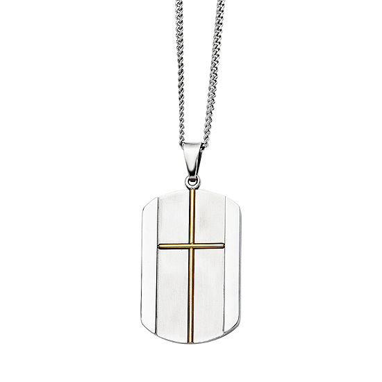 Mens Stainless Steel Yellow Ip-Plated Cross Pendant