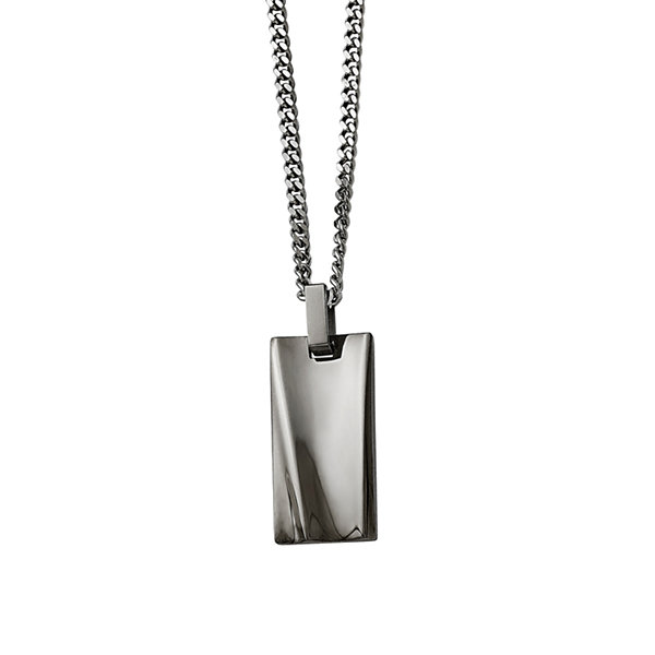 Mens Stainless Steel Black Ip-Plated Rectangle Pendant
