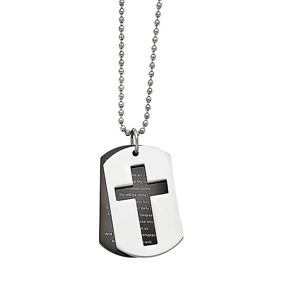 Mens Stainless Steel Black Ip-Plated Lord'S Prayer Pendant