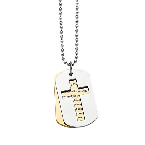 Mens Stainless Steel Yellow Ip-Plated Serenity Prayer Pendant