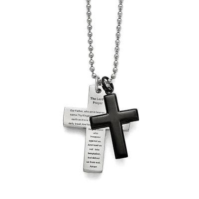 Mens Stainless Steel Black Ip-Plated Lords Prayer Cross Pendant