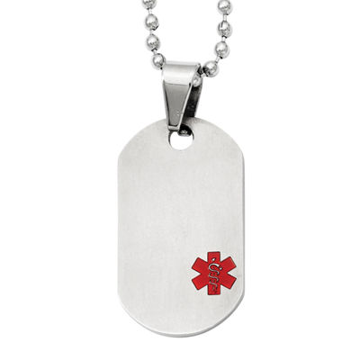 Mens Titanium Medical Jewelry Dog Tag Pendant