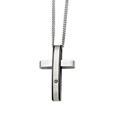 Mens 1/7 Ct. T.W. Diamond Stainless Steel Cross Pendant
