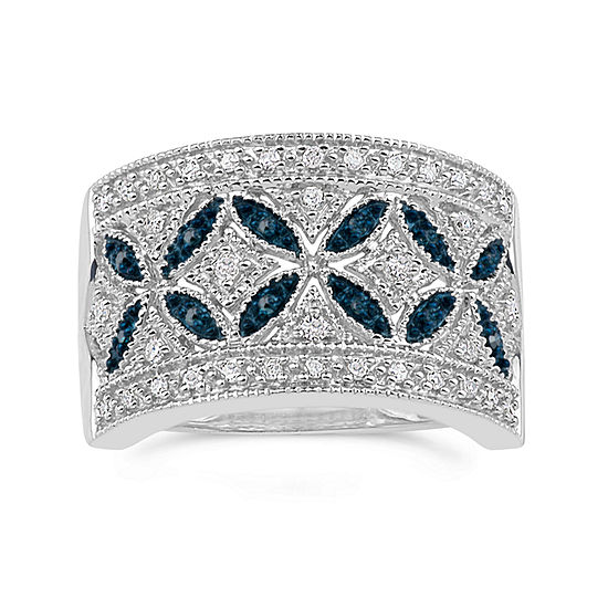 Sterling Silver Blue and White Diamond Wideband Ring
