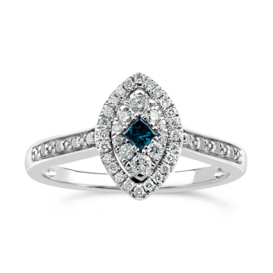 Womens 1/3 CT. T.W. Genuine Blue Diamond Sterling Silver Cocktail Ring