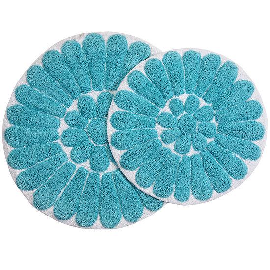 Chesapeake Merchandising Bursting Flower 2 Pc Round Bath Rug Set