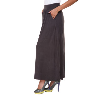 White Mark Elastic Waist Womens Mid Rise Stretch Long Maxi Skirt