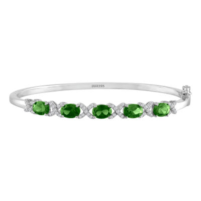 Womens Simulated  Emerald Sterling Silver Bangle Bracelet