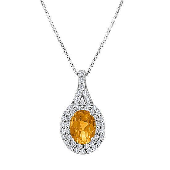 Womens Genuine Yellow Citrine Sterling Silver Oval Pendant Necklace
