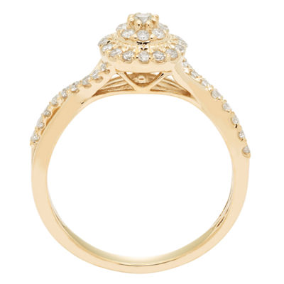 Womens 3/8 CT. T.W. Round White Diamond 10K Gold Engagement Ring