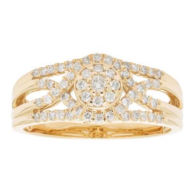 Womens 3/8 CT. T.W. Round White Diamond 10K Gold Engagement Ring