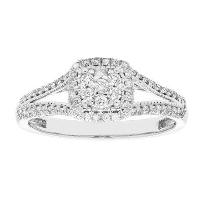 Womens 3/8 CT. T.W. Genuine Round White Diamond 10K Gold Engagement Ring