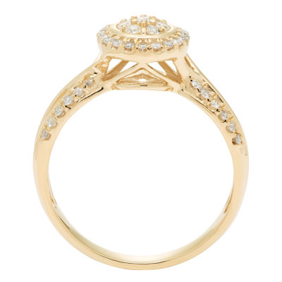 Womens 3/8 CT. T.W. Genuine Round White Diamond 10K Gold Engagement Ring