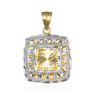 Womens 14K Gold Square Pendant