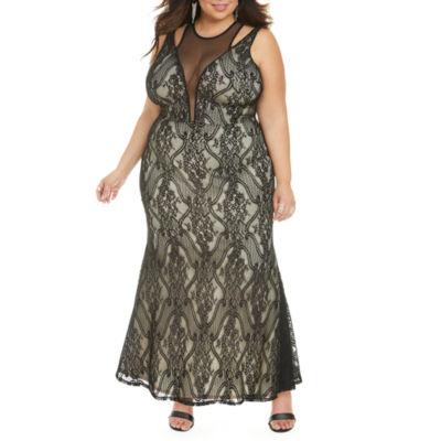 Fashion To Figure Lauren Lace Mesh Maxi Evening Gown-Plus