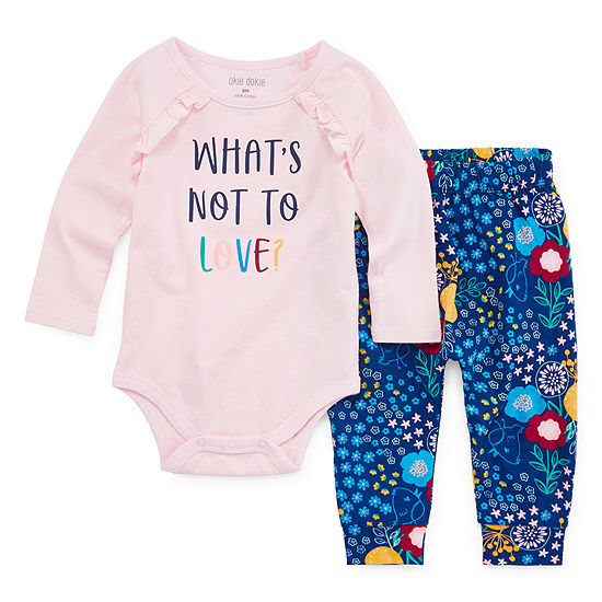 Okie Dokie Girls 2-pc. Bodysuit Set-Baby