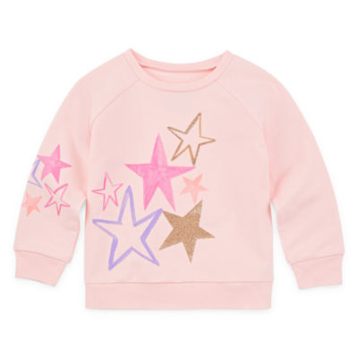 Okie Dokie Girls Round Neck Long Sleeve Sweatshirt - Toddler