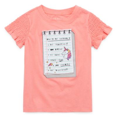 Okie Dokie Girls U Neck Short Sleeve Graphic T-Shirt-Toddler