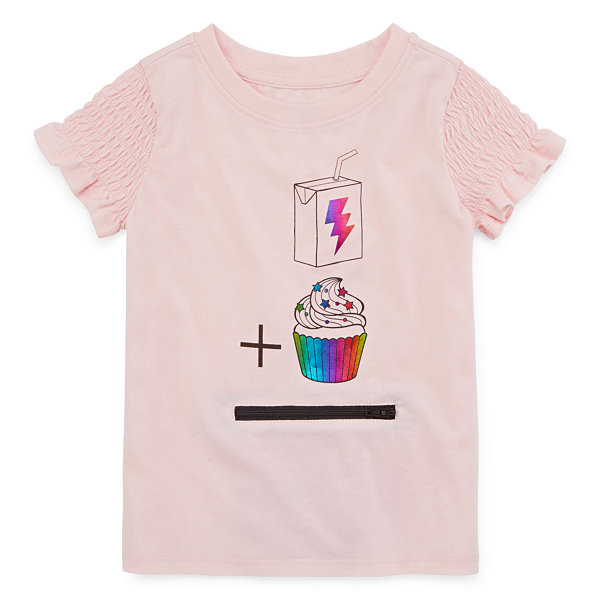 Okie Dokie Girls U Neck Short Sleeve Graphic T-Shirt-Toddler