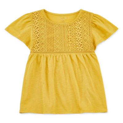 Arizona Girls Round Neck Short Sleeve Lace Trim T-Shirt-Preschool