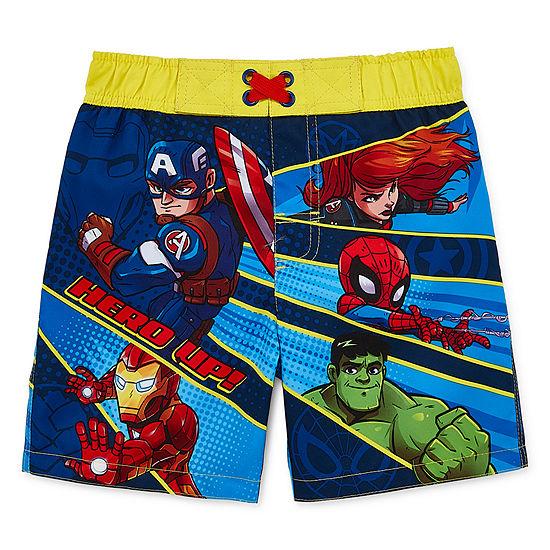 Superheroes Boys Avengers Swim Trunks-Toddler